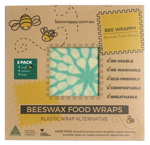 Bee Wrappy Beeswax Wraps School Lunchbox 3 Pack