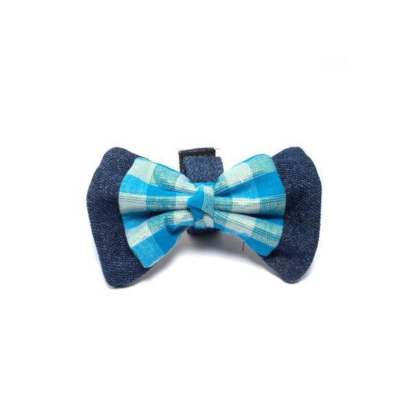 Blue Checks Denim Bowtie