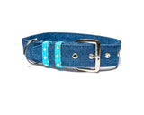 Denim with Blue Polka Belt Collar