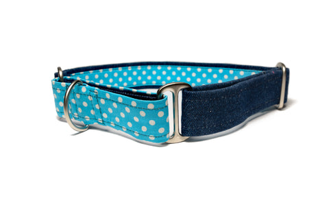 Denim with Blue Polka Martingale Collar