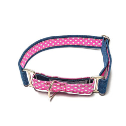 Denim with Pink Polka Martingale Collar