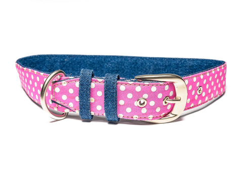 Pink Polka Belt Collar