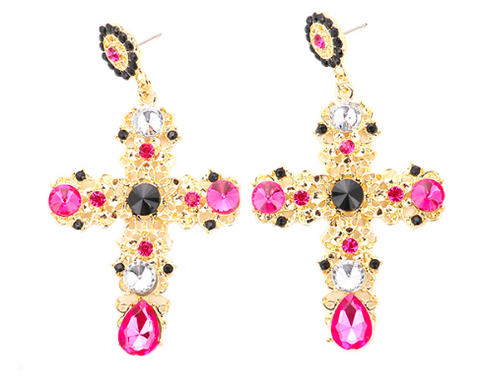 Stone Cross Earrings