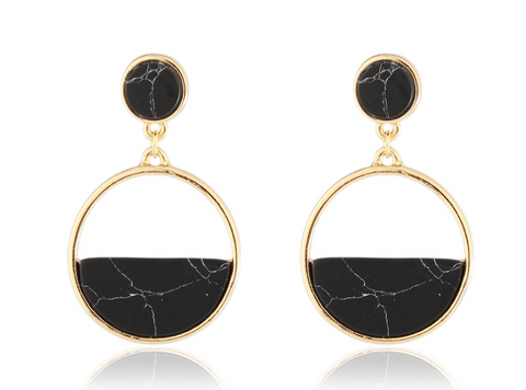 Circle Marble Earrings