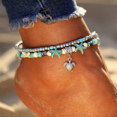 Handmade Sea Shell and Turtle Anklet