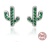 Green Cactus Sterling Silver Earrings