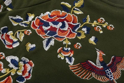 Cleo Army Green Embroidered Sweater