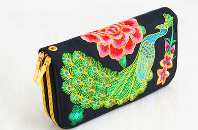 Embroidered Peackock Wallets - Salezr.com