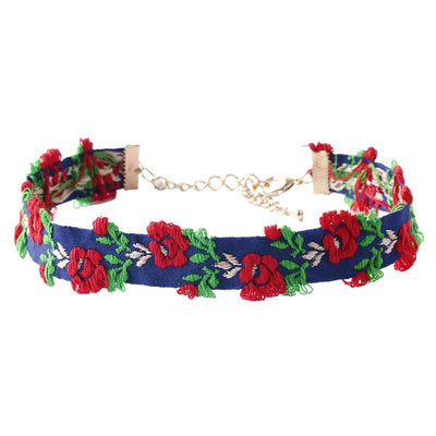 Embroidered Rose Choker Necklace