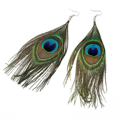 Boho Peacock Feather Earrings - Salezr.com