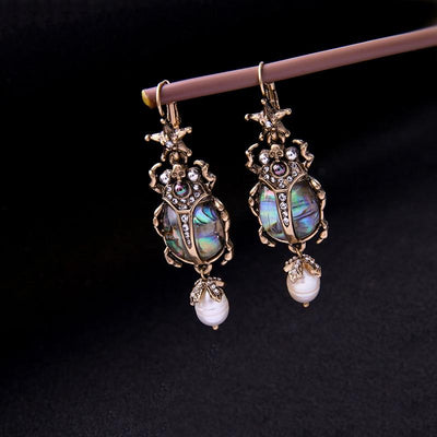 Cultured Pearl Beetle Earrings