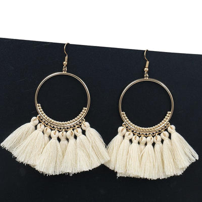 Yauvana Tasselled Hoop Earrings