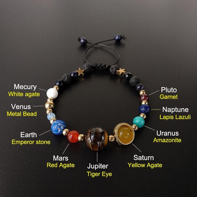 9 Planets Natural Stone Bracelet