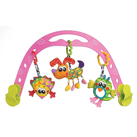 Playgro™ Animal Friends Travel Play Arch in Pink/Multi - Baby Strollers Center