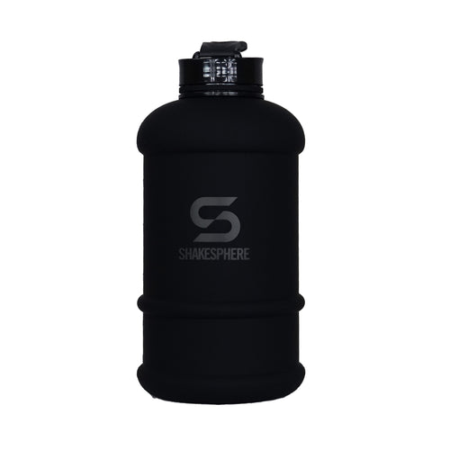 1.3 Liter Matte Black Water Bottle with Black ShakeSphere Logo