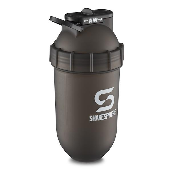 700mls Shaker Bottle Frosted Black with White Logo - Free UK Delivery