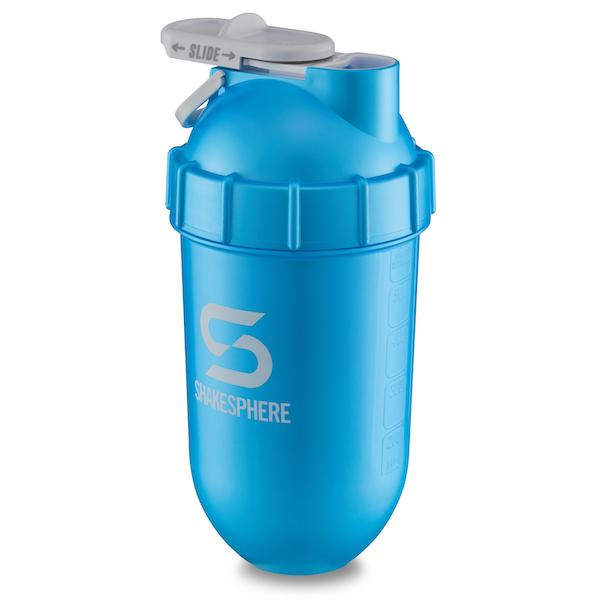 700mls Shaker Bottle Metallic Finish Cyan White Logo - Free UK Delivery