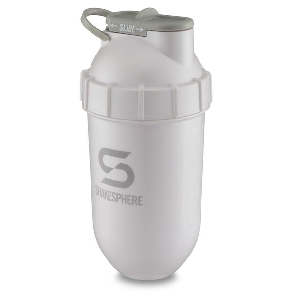 700mls Shaker Bottle Metallic Finish Pearl White Grey Logo - Free UK Delivery