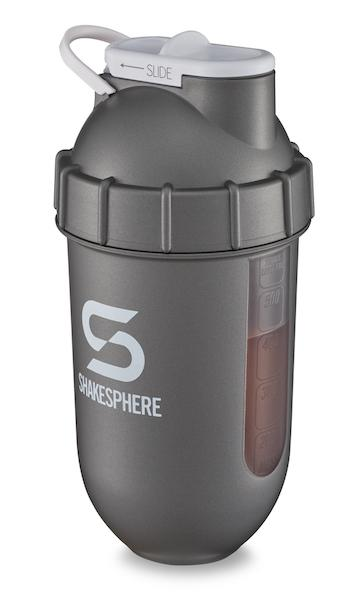 700mls ShakeSphere Gun Metal Tumbler View clear window, white logo