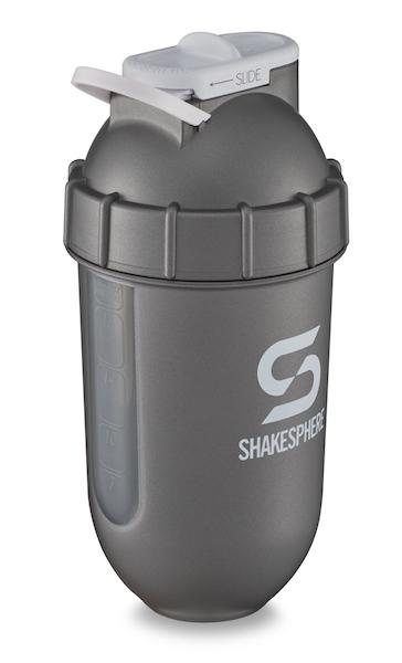700mls ShakeSphere Tumbler View Gun Metal/White Logo/Clear Window