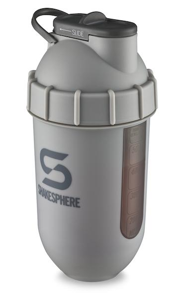 700mls ShakeSphere Tumbler View Matte Grey/Grey Logo/Black Window