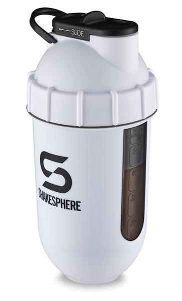 700mls ShakeSphere Matte White Tumbler View black window, black logo