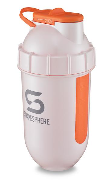 700mls ShakeSphere Pearl White Tumbler View orange window, grey logo