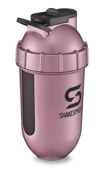 700mls ShakeSphere Tumbler View Rose Gold/Black Logo/Black Window