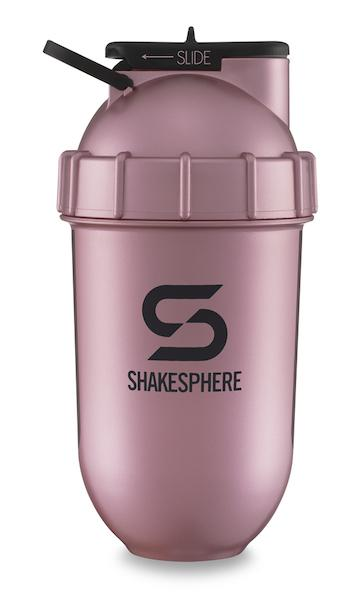 700mls ShakeSphere Rose Gold Tumbler View black window, black logo