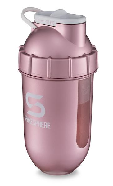 700mls ShakeSphere Rose Gold Tumbler View clear window, white logo