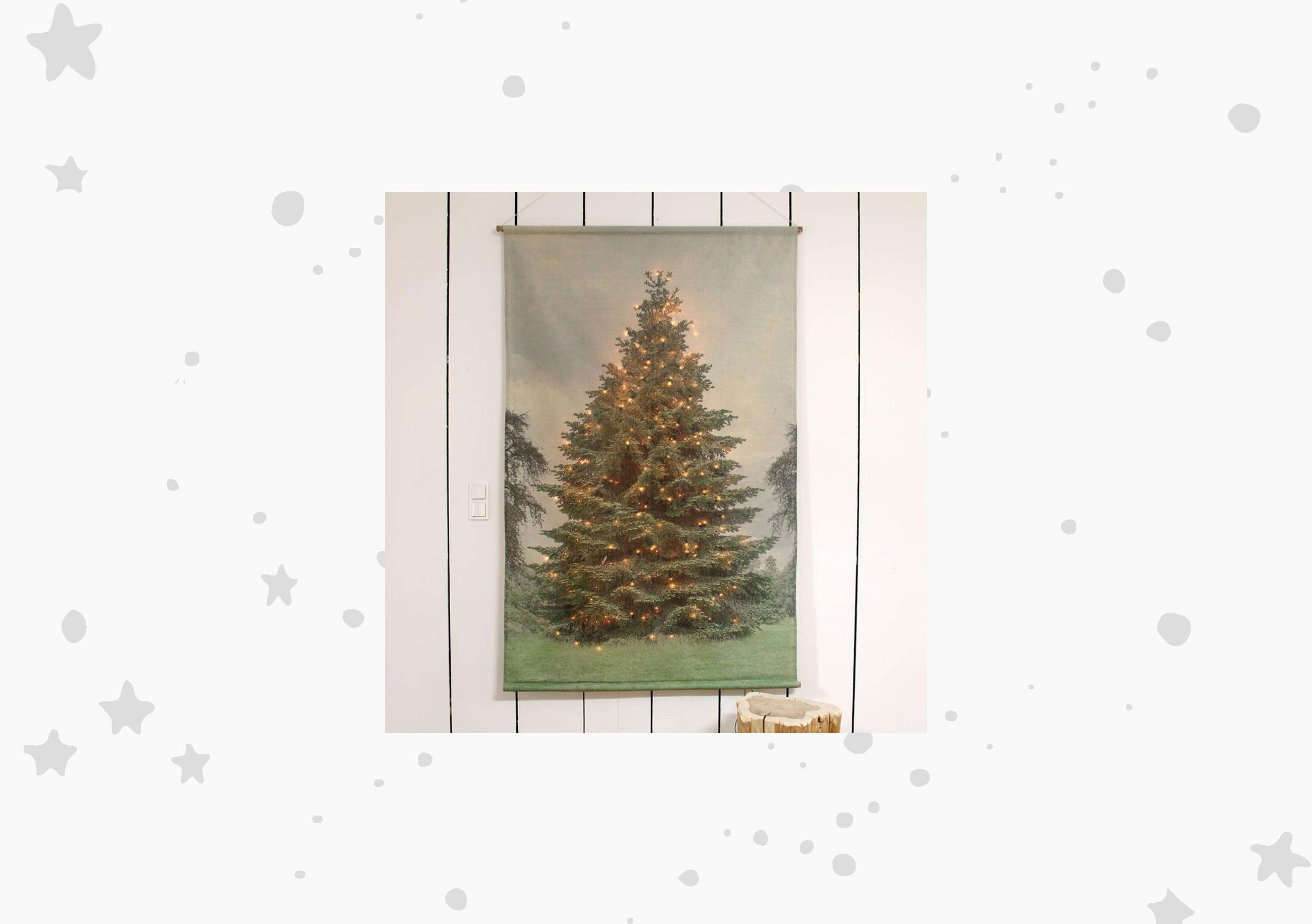 The little house shop - christmas tree wall banner