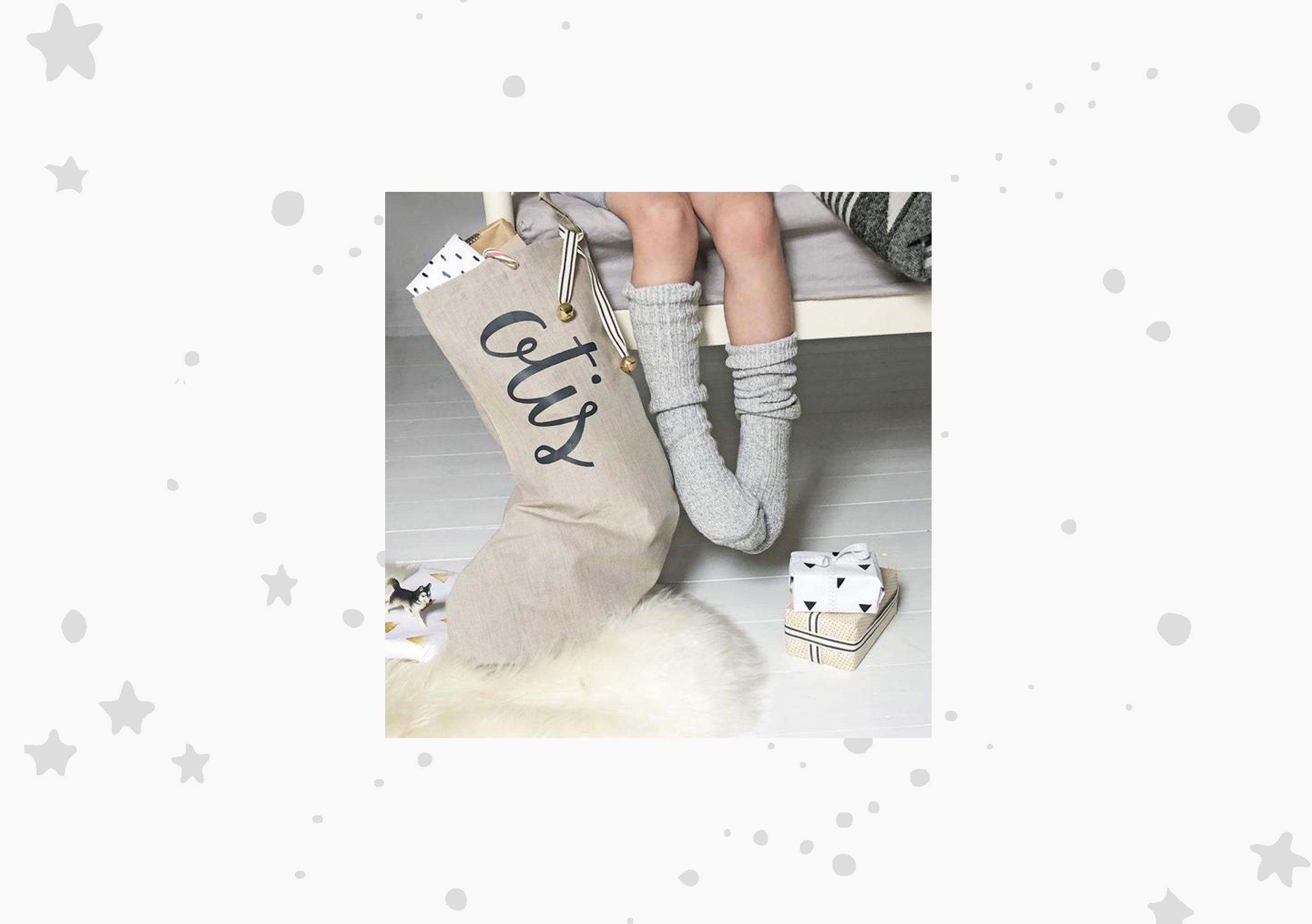 Modo Creative Personalised Name Linen Christmas Stocking