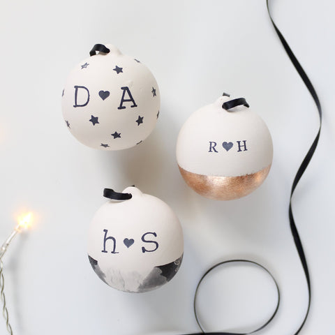 Personalised Couples Ceramic Christmas Baubles