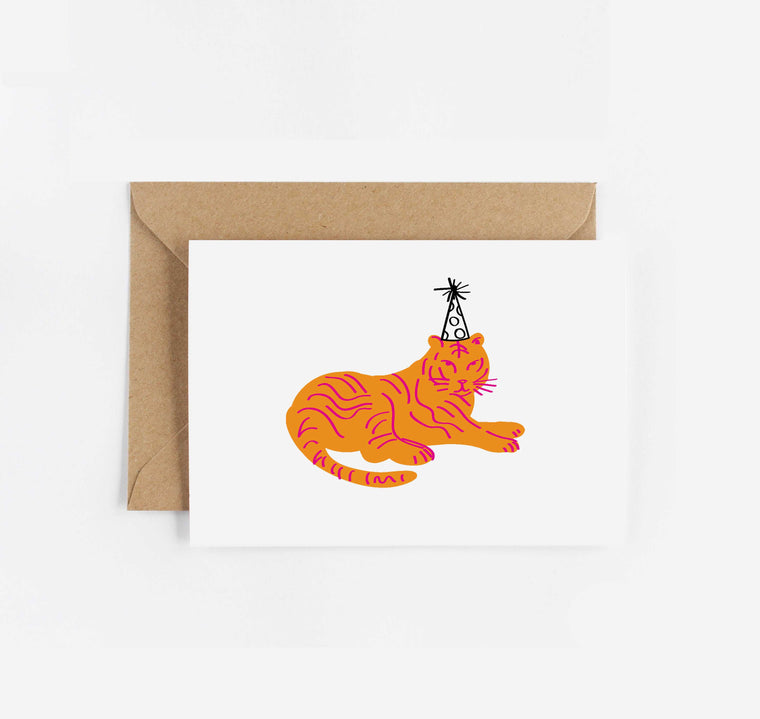 Party Hat Tiger Birthday Card