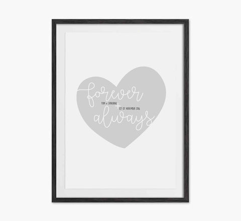 Personalised 'forever and always' pink heart print