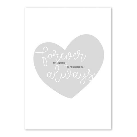 Personalised 'Forever & Always' Heart Print