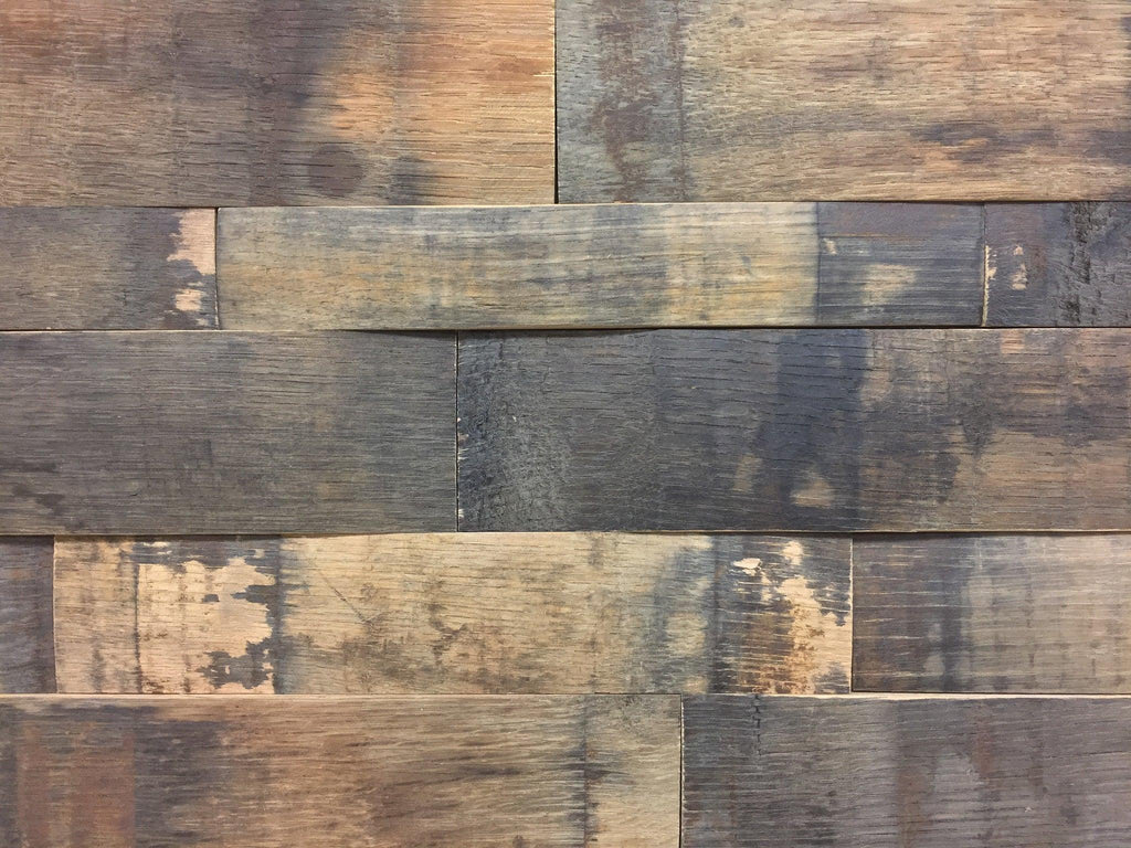 Reclaimed Natural Oak Whiskey Barrel Stave Wall Panels