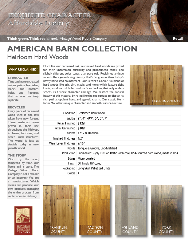 American Barn Collection Heirloom Reclaimed Barn Wood Settlers' Choice Flooring Spec Sheet