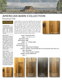 American Barn Collection Heirloom Reclaimed Barn Wood Domestic Oak flooring Spec Sheet