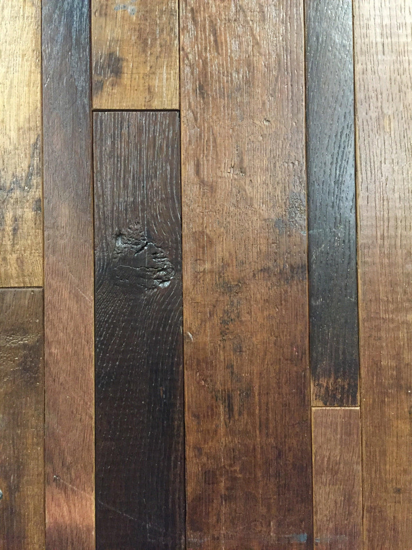 1sf Red Wine Soaked Oak Wine Barrel Flooring Sample