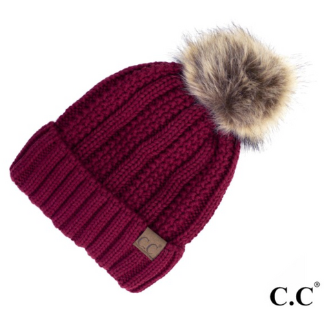 CC Fleece Lined Pom Pom Hat-Maroon
