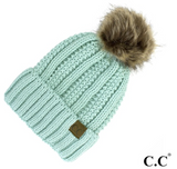 CC Fleece Lined Pom Pom Hat-Taupe