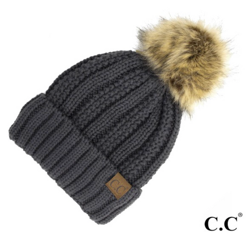 CC Fleece Lined Pom Pom Hat-Charcoal Grey