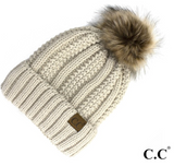 CC Fleece Lined Pom Pom Hat-Coral