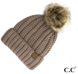 CC Fleece Lined Pom Pom Hat-Navy