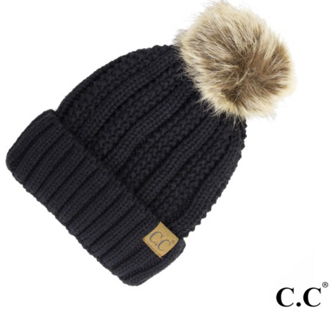 CC Fleece Lined Pom Pom Hat-Black