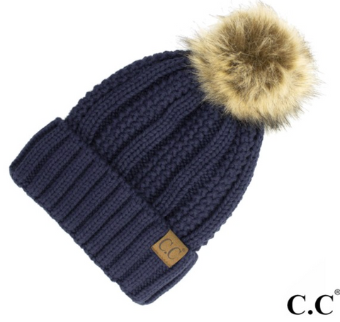 CC Fleece Lined Pom Pom Hat-Denim