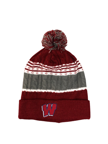 "Cable Knit ""W"" Pom Pom Hat"