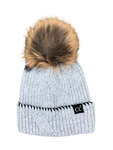 CC Exclusive- Black Label Special Edition Ribbed Cuff Accented Beanie w/ Fur Pom