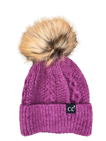 CC Exclusive-Black Label Special Edition Sweater Knit Beanie w/ Fur Pom